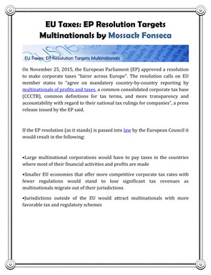 EU Taxes: EP Resolution Targets Multinationals by Mossack Fonseca