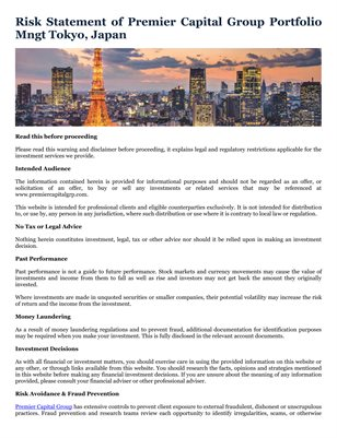 Risk Statement of Premier Capital Group Portfolio Mngt Tokyo, Japan
