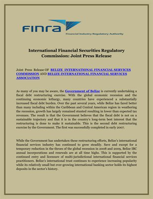 International Financial Securities Regulatory Commission: Joint Press Release