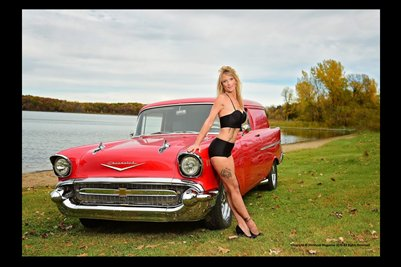 Model Shawna Roberts with a Red Panel Wagon 2
