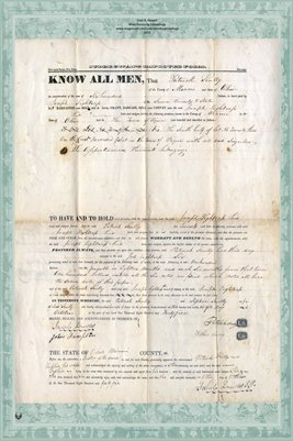 1845 Deed from Patrick Scully to Joseph Lightcap, Miami County, Ohio