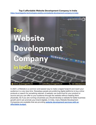 Top 5 affordable Website Development Companies in India