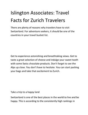 Islington Associates: Travel Facts for Zurich Travelers
