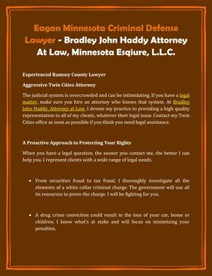 Eagan Minnesota Criminal Defense Lawyer - Bradley John Haddy Attorney At Law, Minnesota Esqiure, L.L.C.