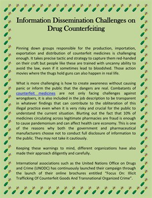 Information Dissemination Challenges on Drug Counterfeiting