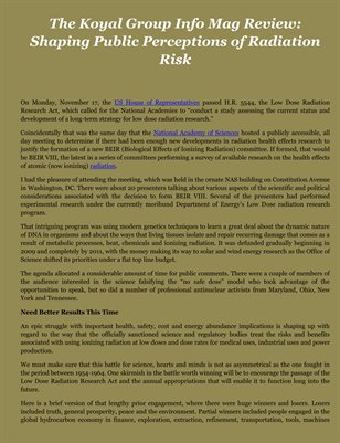 The Koyal Group Info Mag Review: Shaping Public Perceptions of Radiation Risk