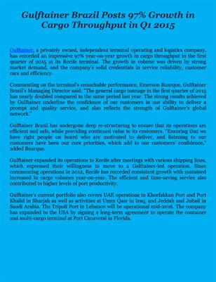 Gulftainer Brazil Posts 97% Growth in Cargo Throughput in Q1 2015