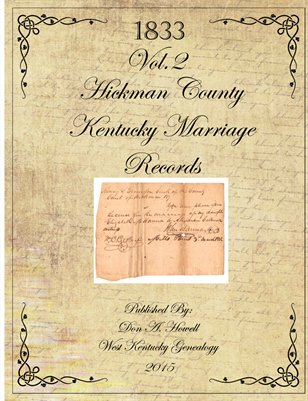 Vol. 2 1833 Hickman County Marriage Records