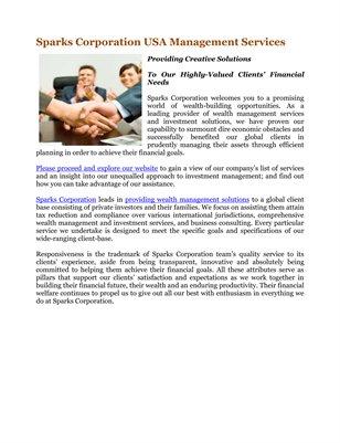 Sparks Corporation USA Management Services