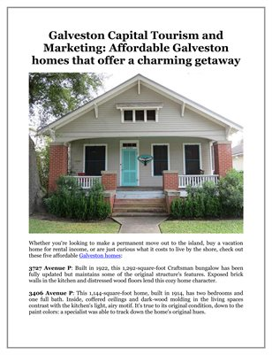 Galveston Capital Tourism and Marketing: Affordable Galveston homes that offer a charming getaway