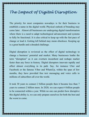 The Impact of Digital Disruption