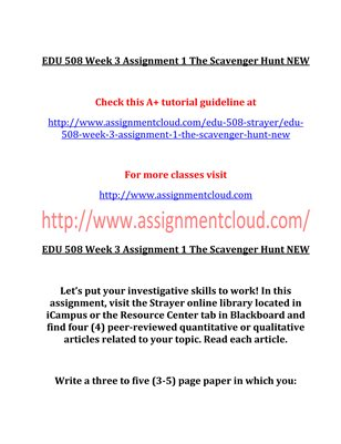 EDU 508 Entire Course NEW