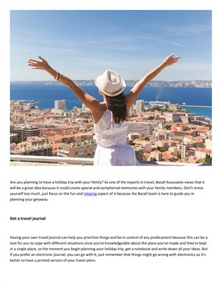 Bacall Associates Tips to plan for a holiday trip