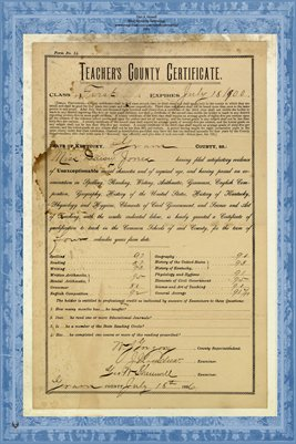 1890's Daisy Jones Teaching Certificate, Graves County, KY