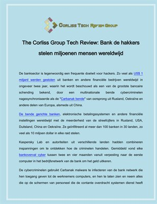 The Corliss Group Tech Review Bank de hakkers stelen miljoenen mensen wereldwijd