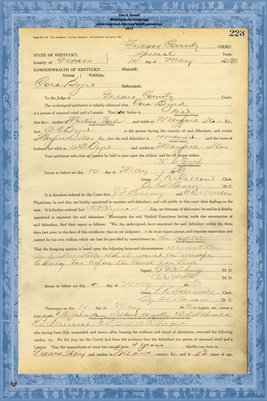 1923 State of Kentucky vs. Cora Byrd, Graves County, Kentucky
