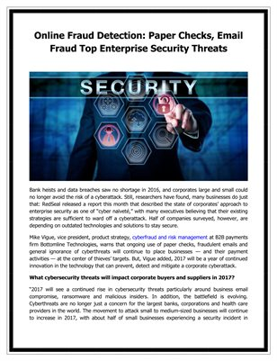 Online Fraud Detection: Paper Checks, Email Fraud Top Enterprise Security Threats