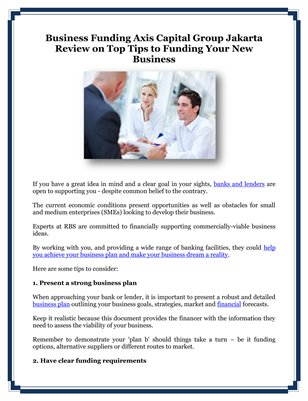 Business Funding Axis Capital Group Jakarta Review on Top Tips to Funding Your New Business