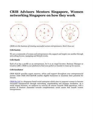 CRIB Advisors Mentors Singapore, Women networking Singapore on how they work
