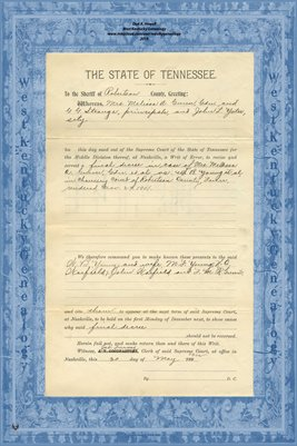 No.783 Robertson County, Tennessee, In the Supreme Court Mrs. Melissa A. Gunn vs. W.B. Young et al., May 1902