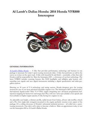 Al Lamb's Dallas Honda: 2014 Honda VFR800 Interceptor