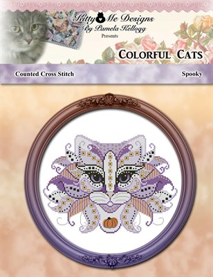 Colorful Cats Spooky Counted Cross Stitch Pattern