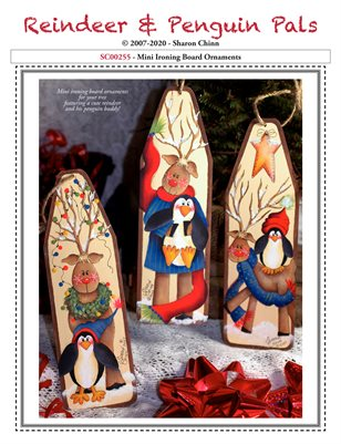 Reindeer and Penguin Pals Ironing Board Ornaments by Sharon Chinn - SC00255
