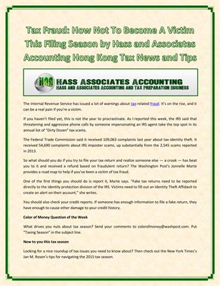 Tax Fraud: How Not To Become A Victim This Filing Season by Hass and Associates Accounting Hong Kong Tax News and Tips