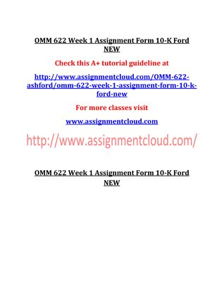 OMM 622 Entire Course NEW