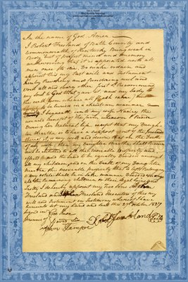 1827 Robert Freeland Will, Bath County, Kentucky