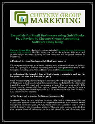 Essentials for Small Businesses using QuickBooks Pt. 2 Review by Cheyney Group Accounting Software Hong Kong