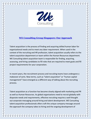 WE Consulting Group Singapore: Our Approach
