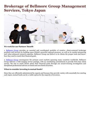 Brokerage of Bellmore Group Management Services, Tokyo Japan