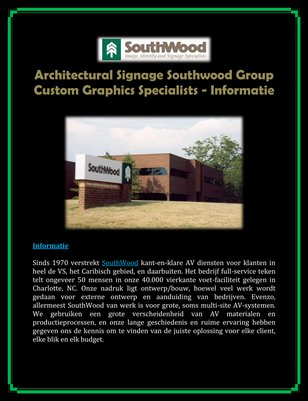Architectural Signage Southwood Group Custom Graphics Specialists - Informatie