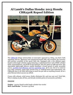 Al Lamb's Dallas Honda: 2013 Honda CBR250R Repsol Edition