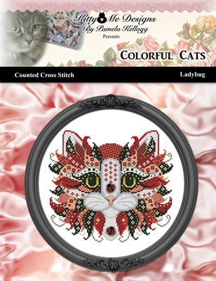 Colorful Cats Ladybug Counted Cross Stitch Pattern