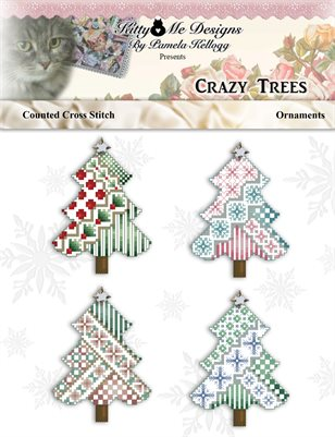 Crazy Trees Cross Stitch Ornaments