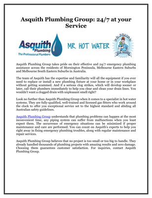Asquith Plumbing Group: 24/7 at your Service
