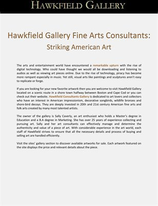 Hawkfield Gallery Fine Arts Consultants: Striking American Art