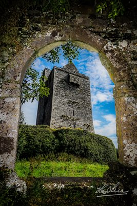 """Ballinalacken Castle in Ireland's County Clare""  Irish Castle, Poster Print"