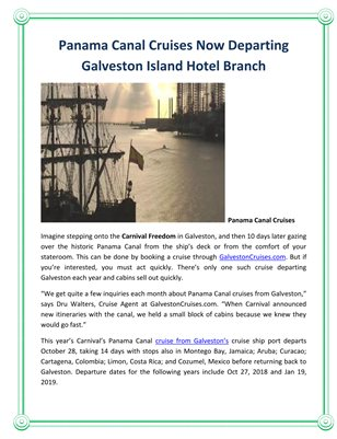 Panama Canal Cruises Now Departing Galveston Island Hotel Branch