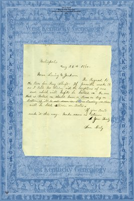 1880 Letter, from Sam Daily to Mr's Lining & Jackson, Metropolis, Illinois
