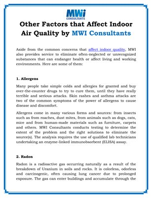 Other Factors that Affect Indoor Air Quality by MWI Consultants