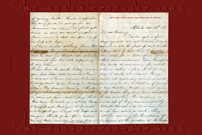 CSA Officer's Letter to Capt Alex Wallace,1st Ga, Vols from wife Oct 18th, 1861