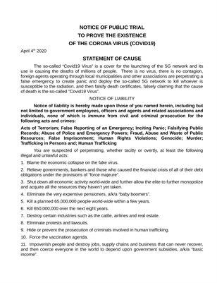 Corona Virus Gold Bounty Public Trial