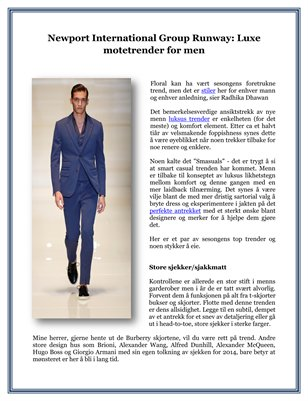 Newport International Group Runway: Luxe motetrender for men