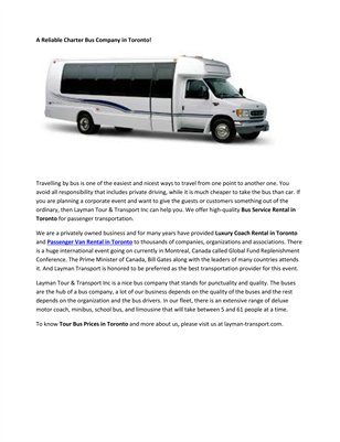 Chartered Bus Rental Toronto
