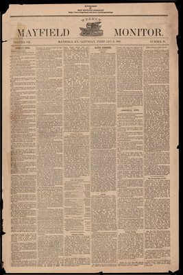 (PAGES 1-2 )  FEBRUARY 11, 1882 MAYFIELD MONITOR NEWSPAPER, MAYFIELD, GRAVES COUNTY, KENTUCKY