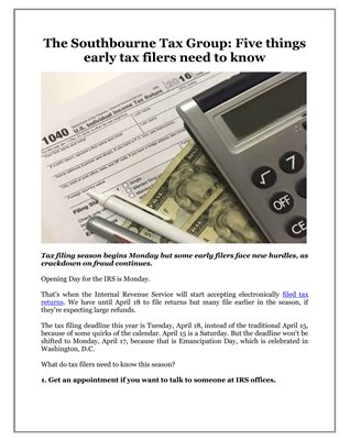 The Southbourne Tax Group: Five things early tax filers need to know