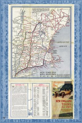 1915 TOUR MAP OF NEW ENGLAND